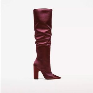 Zara sateen high heel boots sz 39/us 8